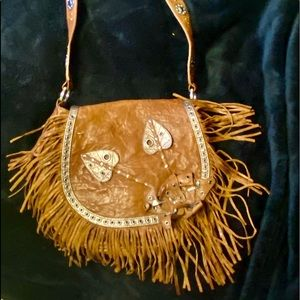 Brown leather hobo bag with leather fringe